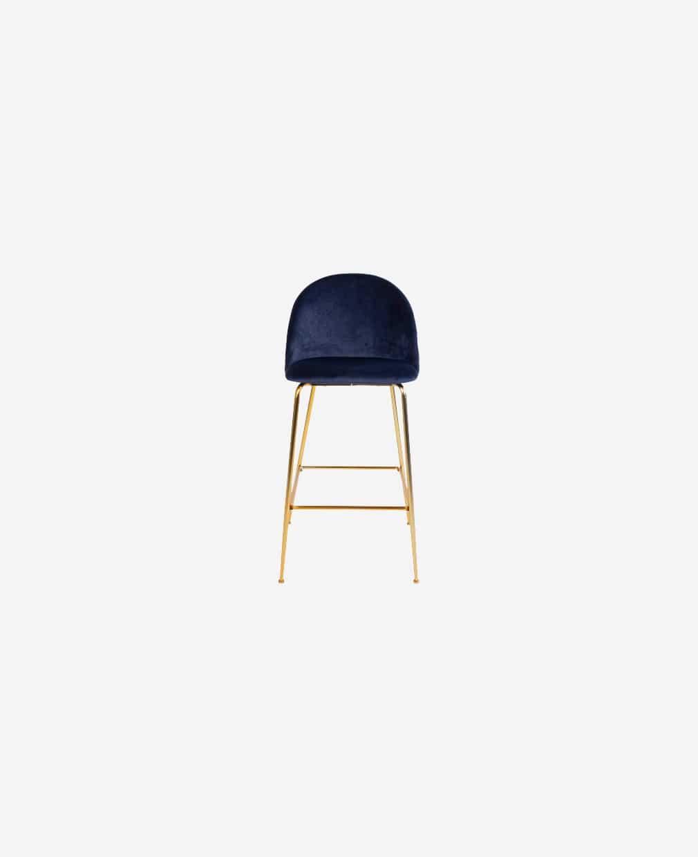Chaise velour bleu or