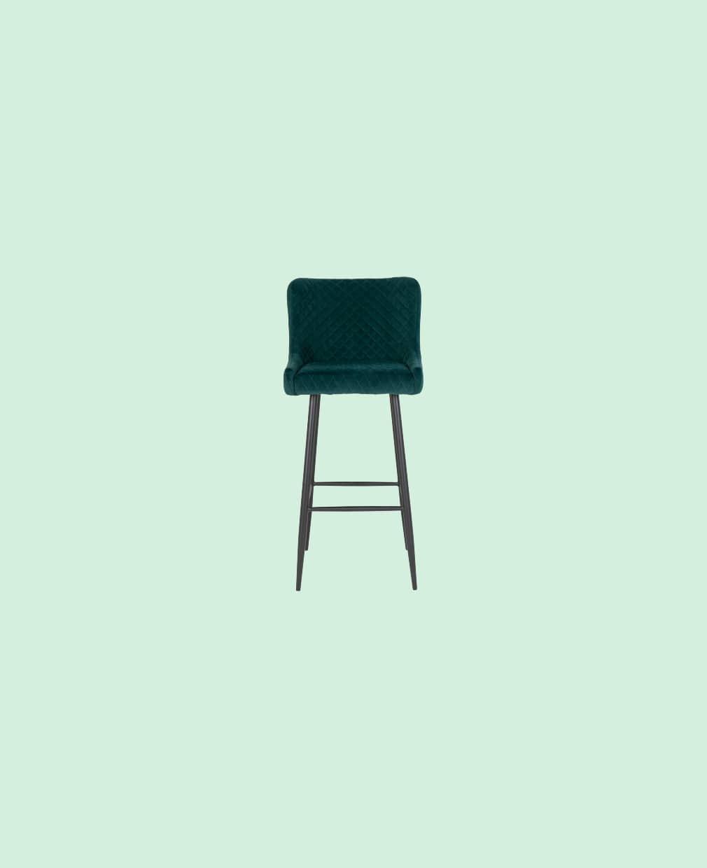 Chaise verte foncé de bar en velour