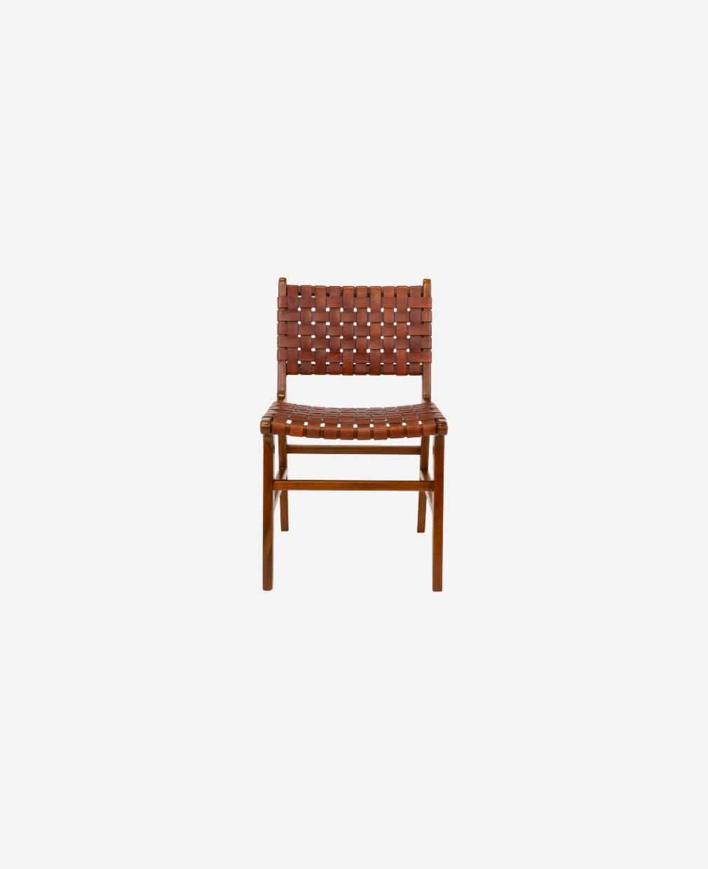 Chaise en bois et lanières cuirs