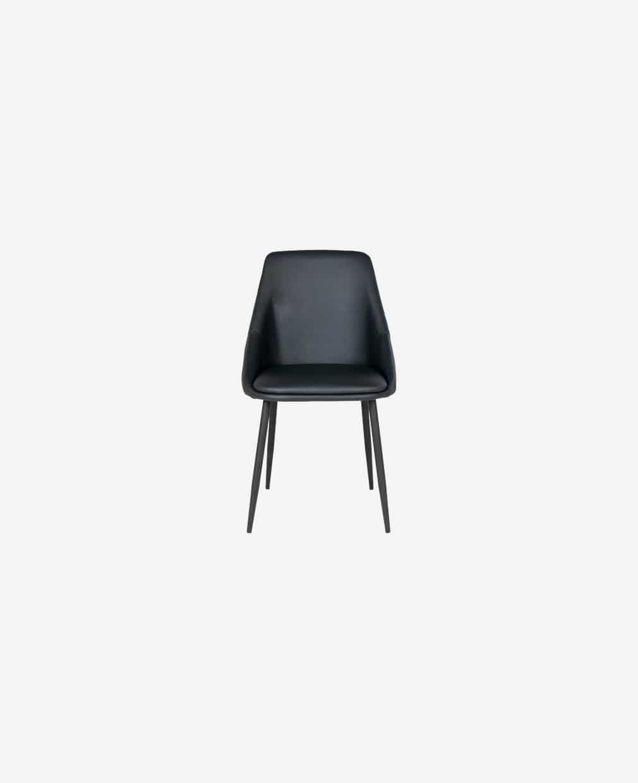 Chaise cuir noir accoudoirs haut