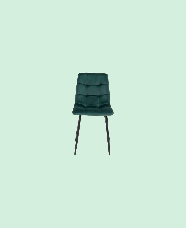 Chaise velours vert sapin
