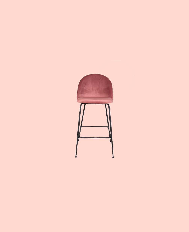 chaise Matelassé velour rose pieds noir