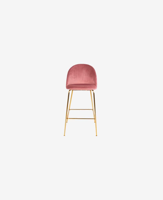 Chaise haute en velour rose