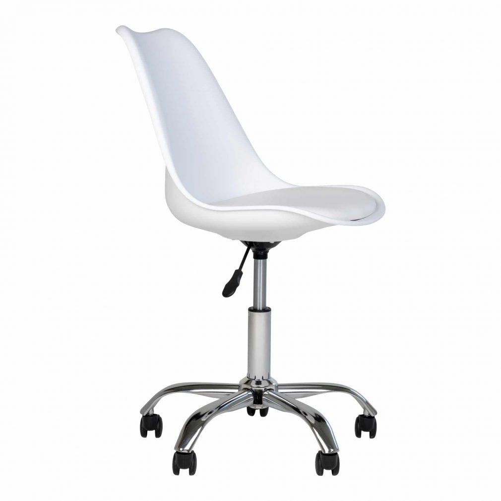 Chaise blanche à roulette