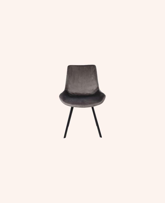 Chaise velours gris pieds noir