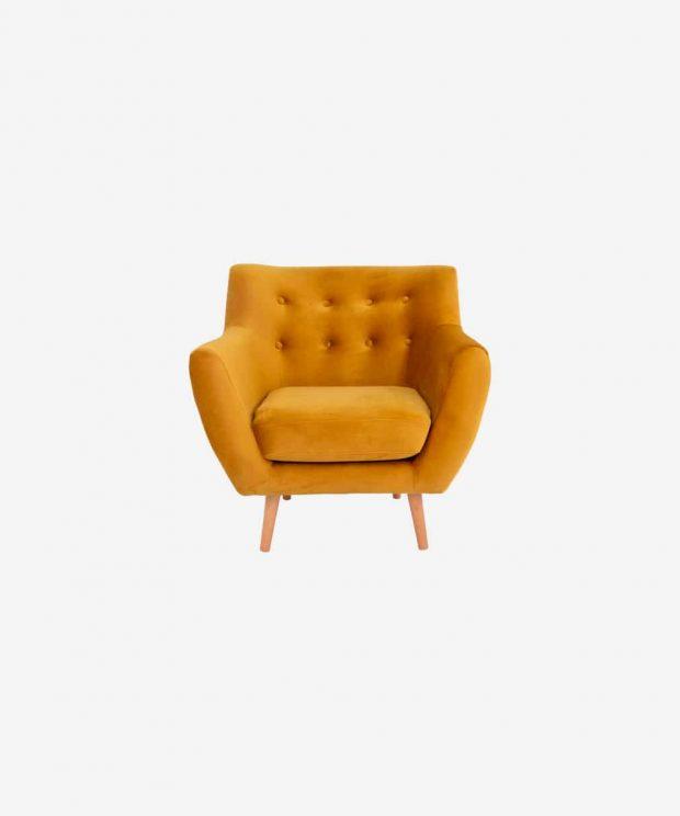 Fauteuil orange moutarde