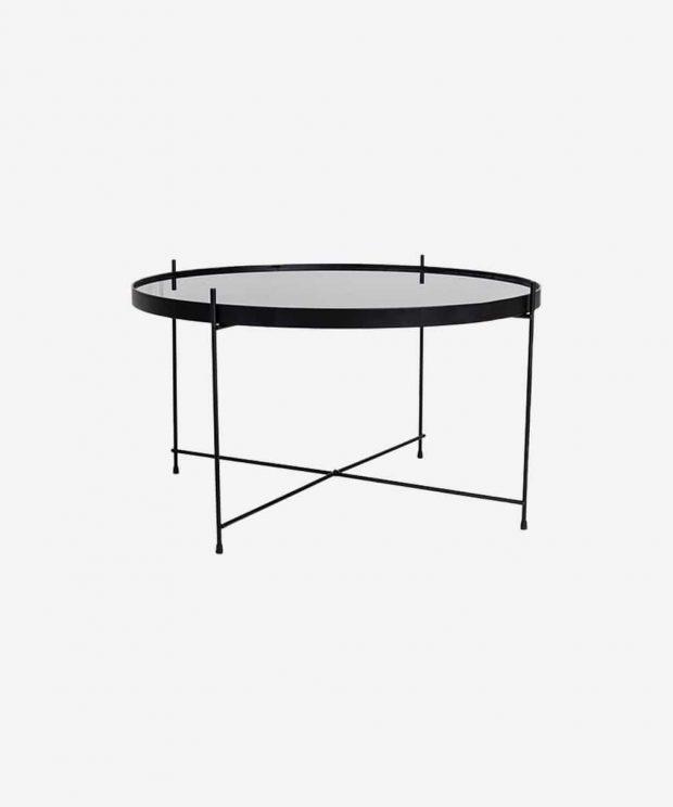 Table basse en verre large noir