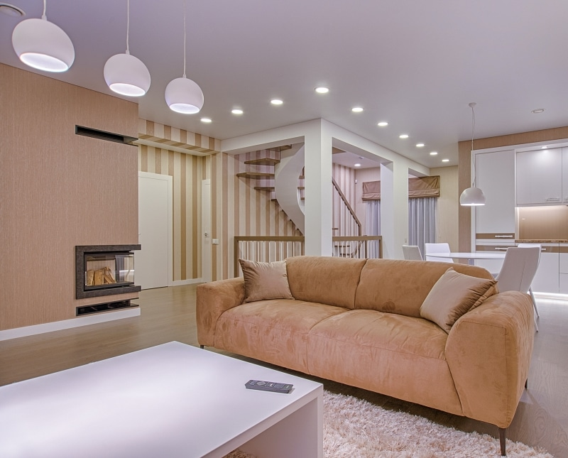 Canapé en velours installé dans un salon