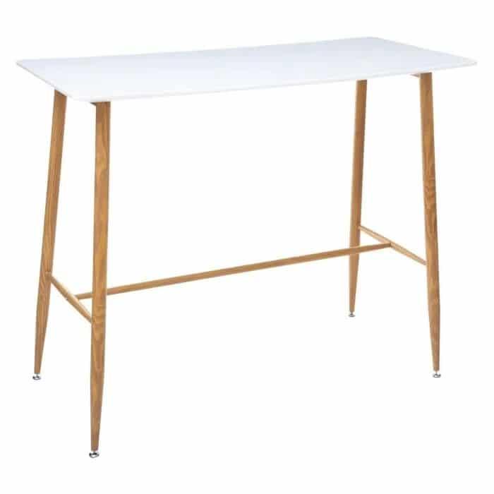 Une table scandinave blanche avec des pieds fin en bois