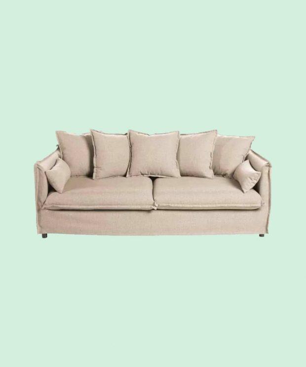 Canapé en lin beige 3 places