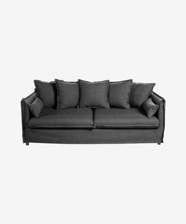 canapé 3 places gris en tissu