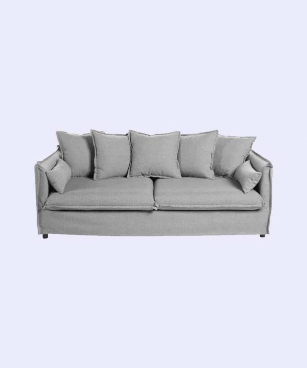 canapé scandinave gris clair