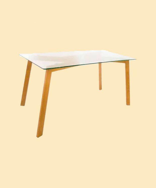 Table scandinave en verre pieds en bois
