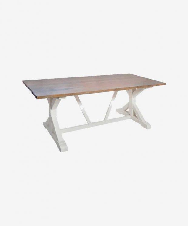 Table en bois pieds blanc
